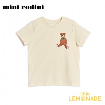 【Mini Rodini】テディーベア ホワイト 半袖 Tシャツ 【9か月-1.5歳/1.5-3歳/3-5歳/5-7歳】  Teddy sp tee(20220141) 20SS  SALE