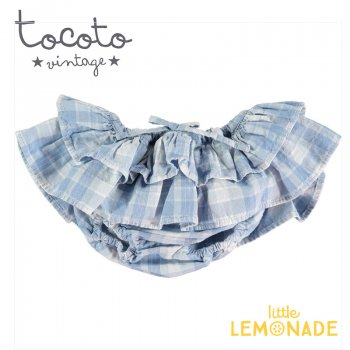 【Tocoto Vintage】Checked denim double ruffle culotte  【12か月/18か月】 ブルマ ショーツ ベビー(S12120) 20SS  SALE YKZ