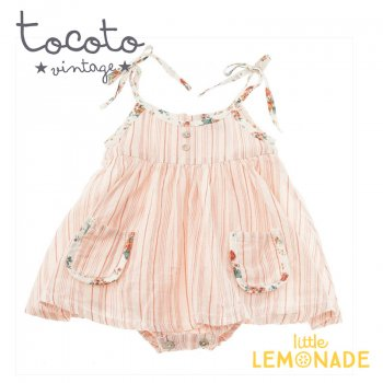 【Tocoto Vintage】Baby striped dress 【9か月/12か月】 花柄 ロンパース ワンピース   (S30920) 20SS  SALE YKZ