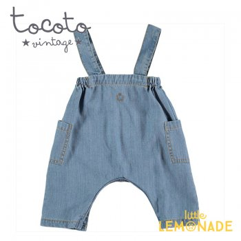 【Tocoto Vintage】Light denim baby dungaree 【12か月/18か月/2歳】 デニム ショート丈 オーバーオール (S40620) 20SS  SALE YKZ