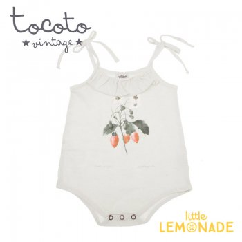【Tocoto Vintage】Strawberry plant drawing romper 【9か月】 苺プリント ロンパース (S42820) 20SS