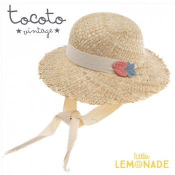 【Tocoto Vintage】 Straw hat with straps and strawberry patch【3-6歳/6-10歳】 苺 麦わら帽 (S72520) 20SS