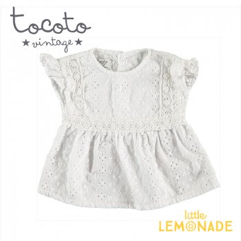 【Tocoto Vintage】Swiss embroidered baby blouse  【12か月/18か月】 刺繍生地 半袖 ブラウス (S90220) 20SS  SALE