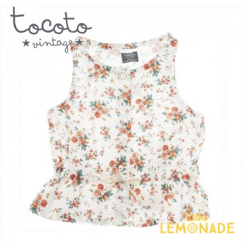 【Tocoto Vintage】Sleeveless flower blouse with waist ribbon  【2歳/4歳/6歳】 花柄 袖なし(S90920) 20SS SALE