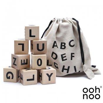 【ooh noo】   Alphabet Blocks Black アルファベットブロック 10個入り 積み木 ブラック
