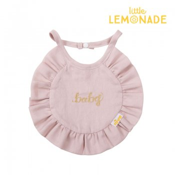 【niva】 コットンリネンベビービブ/ピンク Cotton Linen baby bib おしゃれ スタイ ビブ よだれかけ ピンク 女の子 出産祝い リトルレモネード(265PNK)