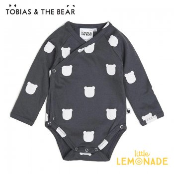 【Tobias & The Bear】 チャコールベアー 長袖ボディ 【3-6/6-12/12-18か月】 ロンパース Charcoal Bear long sleeve (CHBEKI)