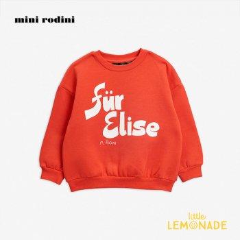 【Mini Rodini】 Für Elise 長袖スウェットシャツ / 赤 【1.5歳-3歳/3-5歳/5-7歳】   Für Elise sp sweatshirt 20AW