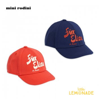 【Mini Rodini】  Fur elise cap 刺繍 ベースボールキャップ 【RED / BLUE】  20765102  Fur elise cap 20AW SALE