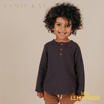 【Jamie Kay】 PARKER TOP - PEBBLE 【1歳/2歳/3歳/4歳/5歳/6歳】 トップス 長袖 シャツ オーガニック ネイビー AW SALE