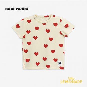 【Mini Rodini】ハートモチーフ 半袖Tシャツ / オフホワイト 【9か月-1.5歳/1.5歳-3歳/3-5歳】 20720127 Hearts ss tee/ Offwhite 20AW