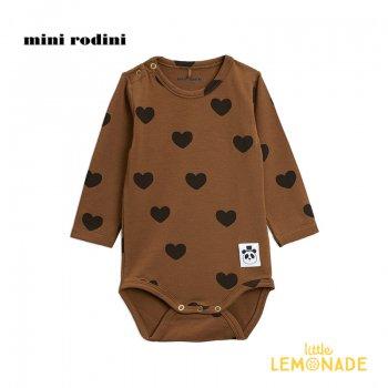 【Mini Rodini】ハートモチーフ 長袖 ボディ / ブラウン 【4か月-9月/9か月-1.5歳】 20740136  Hearts ls body /  Brown 20AW SALE