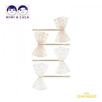 【Mimi&Lula ミミアンドルーラ】 MINI TUTU BOW GRIPS/ミニチュチュヘアピン4個セット ヘアアクセサリー 女の子 20AW(602048 04)