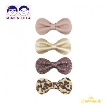 【Mimi&Lula ミミアンドルーラ】 LEOPARD GRACIES/レオパードグレースリボンヘアクリップ4個セット ヘアアクセサリー 女の子 20AW(602066 43)