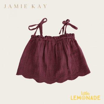 【Jamie Kay】BLAKE SINGLET - GRAPE 【1歳/2歳/3歳】  刺繍トップス キャミソール ジェイミーケイ AW SALE