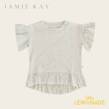 【Jamie Kay】 EDEN TOP - LINEN  【1歳/2歳/3歳/4歳/5歳/6歳】 半袖 袖フリル トップス Tシャツ くすみカラー  AW SALE