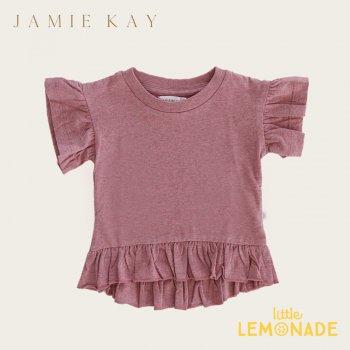 【Jamie Kay】 EDEN TOP - BerryFizz 【1歳/2歳/3歳/4歳/5歳/6歳】 半袖 袖フリル トップス Tシャツ くすみカラー  AW SALE