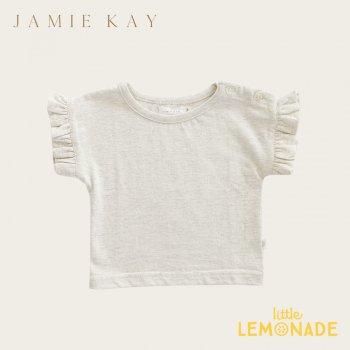 【Jamie Kay】 FLEUR TOP - LINEN 【1歳/2歳/3歳/4歳/5歳/6歳】 半袖 袖フリル トップス Tシャツ くすみカラー   AW SALE