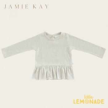 【Jamie Kay】 BAILEY TOP - LINEN 【1歳/2歳/3歳/4歳/5歳】 長袖 裾フリル トップス Tシャツ くすみカラー  AW SALE