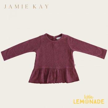 【Jamie Kay】 BAILEY TOP - PINK RASPBERRY  【1歳/2歳/3歳/4歳/5歳/6歳】  長袖 裾フリル トップス Tシャツ  AW SALE