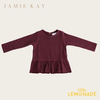 【Jamie Kay】 BAILEY TOP - PLUM  【1歳/2歳/3歳/4歳/5歳/6歳】  長袖 裾フリル トップス Tシャツ  AW SALE