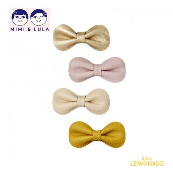 【Mimi&Lula ミミアンドルーラ】 GRACIE BOW CLIPS/リボンヘアクリップ4個セット(ゴールド・イエロー・ヌードカラー)(ML402051 58)