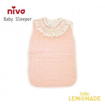 【niva】6重ガーゼドットスリーパー/ ピンク 寝袋 ベビー布団 スリープバック 女の子 出産祝い (240PNK)