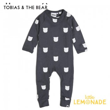 【Tobias & The Bear】 チャコールベアー カバーオール  【3-6/6-12/12-18/18-24か月】 Charcoal Bear long romper (CHBELR)