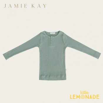 【Jamie Kay】 Essential ORGANIC COTTON HENLEY - HAZE  【1歳/2歳/3歳】 トップス 長袖シャツ グリーン