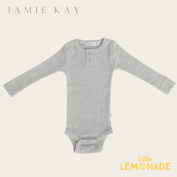【Jamie Kay】 Essential ORGANIC COTTON RIBBED BODYSUIT- LIGHT GREYMARLE 【6-12か月/1歳】 ロンパース ボディ