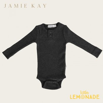 【Jamie Kay】 Essential ORGANIC COTTON RIBBED BODYSUIT- DARK GREYMARLE 【6-12か月/1歳】 ロンパース ボディ