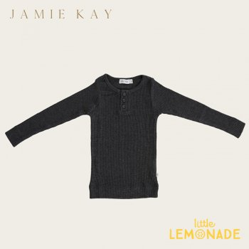 【Jamie Kay】 Essential ORGANIC COTTON HENLEY - DARK GREY MARLE 【1歳/2歳/3歳】 トップス 長袖シャツ ダークグレー
