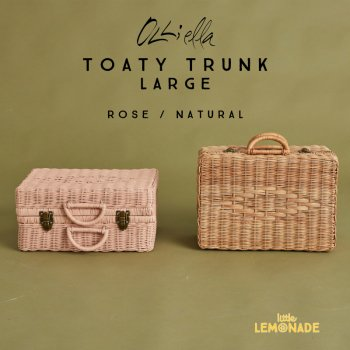 【Olli Ella オリエラ】 TOATY TRUNK/ LARGE ラタントランク【NATURAL / ROSE】 かごバック トランク(OEABAG-TOA-NA-L / RO-L)