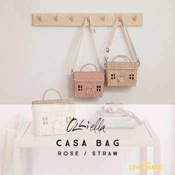【Olli Ella オリエラ】   CASA BAG ハウス型 かごバッグ 【STRAW / ROSE】(OEKTOY-CAS-ST-S/ RO-S)