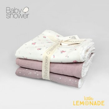 【BABYSHOWER】 タオル 3枚セット  ピンク pink 28x28cm ベビータオル よだれ拭き ハンドタオル スペイン製 リバティー(PTOAPINK)