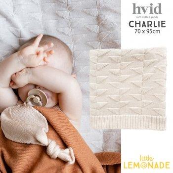 【hvid】 ニットブランケット Charlie 【off-white】 アジュール編み ベビー毛布 おくるみ メリノウール ベビー布団 ヴィズ ベルギー 北欧