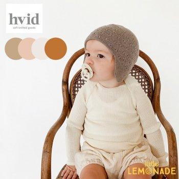 【hvid】 ニット帽子 耳当て付き hat Dua 【apricot/off-white/rust/sand】  1-2歳 赤ちゃん帽子 ベビー帽  ヴィズ ベルギー 北欧