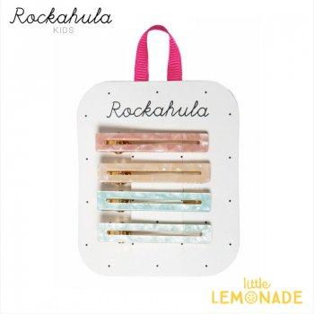 【Rockahula Kids】 Retro Acrylic Bar Clips-Pink/レトロアクリルヘアクリップ ピンク4個セット(H1547P)