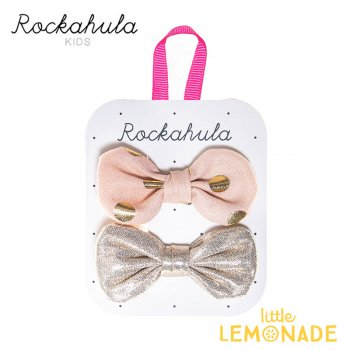 【Rockahula Kids】Bronte Bow Clips Peach/ピーチ&ブロンド リボンヘアクリップ 2個セット(H1418P)
