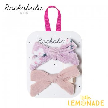 【Rockahula Kids】Florence Tied Bow Clips-Heather/ピンク花柄&ピンクリボンヘアクリップ 2個セット(H1427H)