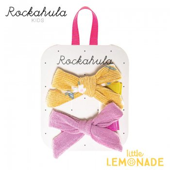 【Rockahula Kids】Florence Tied Bow Clips-Ochre/イエロー花柄&パープルリボンヘアクリップ 2個セット(H1427O)