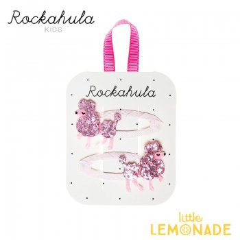 【Rockahula Kids】Polly Poodle Glitter Clips-Pink/グリッターピンクプードルヘアクリップ 2個セット(H998P)