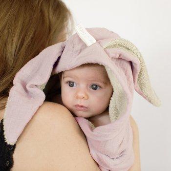 【BABYSHOWER】 バニー ベビースワドル/ピンク Bunny swaddle うさぎ ベビープレイマット オーガニックコットン スペイン製 (SBUNPTL)