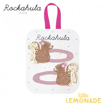 【Rockahula Kids】Suki Squirrel Clips-Pink/リスのピンクヘアクリップ 2個セット(H1402P)