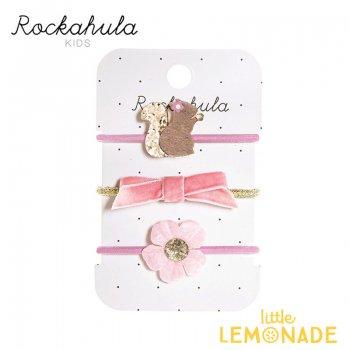 【Rockahula Kids】Suki Squirrel Ponies-Pink/リスのピンクヘアゴム 3個セット(H1403P)