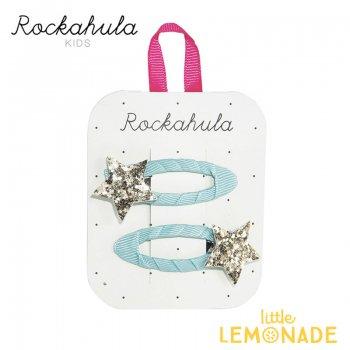 【Rockahula Kids】Star Burst Clips-Blue/グリッターゴールドスターブルーヘアクリップ 2個セット(H1435B)