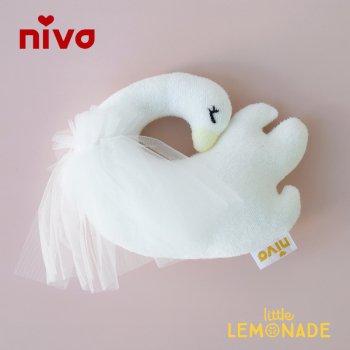 【niva】 スワンラトル ガラガラ 白鳥 ホワイト チュール 女の子 出産祝い(294)