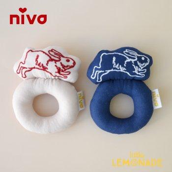 【niva】うさぎの刺繍ラトル ガラガラ 女の子 出産祝い(297)