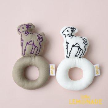 【niva】子羊の刺繍ラトル ガラガラ 女の子 出産祝い(297)