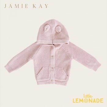 【Jamie Kay】 BEAR CARDIGAN - OLD ROSE【6-12か月/1歳/2歳/3歳】 ピンク ベアカーディガン セーター トップス 耳付 ジェイミーケイ